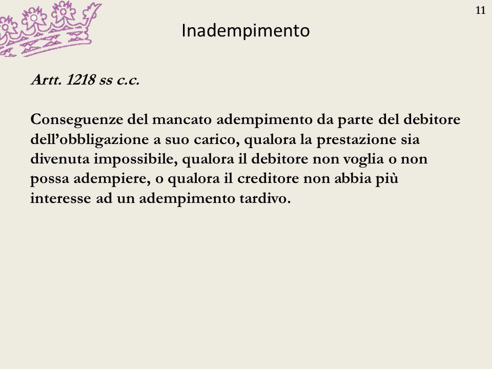 11 Inadempimento Artt. 1218 ss c.c. Conseguenze del mancato adempimento da parte del debitore dell'obbligazione a suo carico, qualora la prestazione s