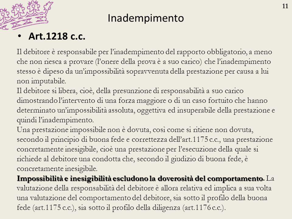 11 Inadempimento Art.1218 c.c. Il debitore è responsabile per l'inadempimento del rapporto obbligatorio, a meno che non riesca a provare (l'onere dell