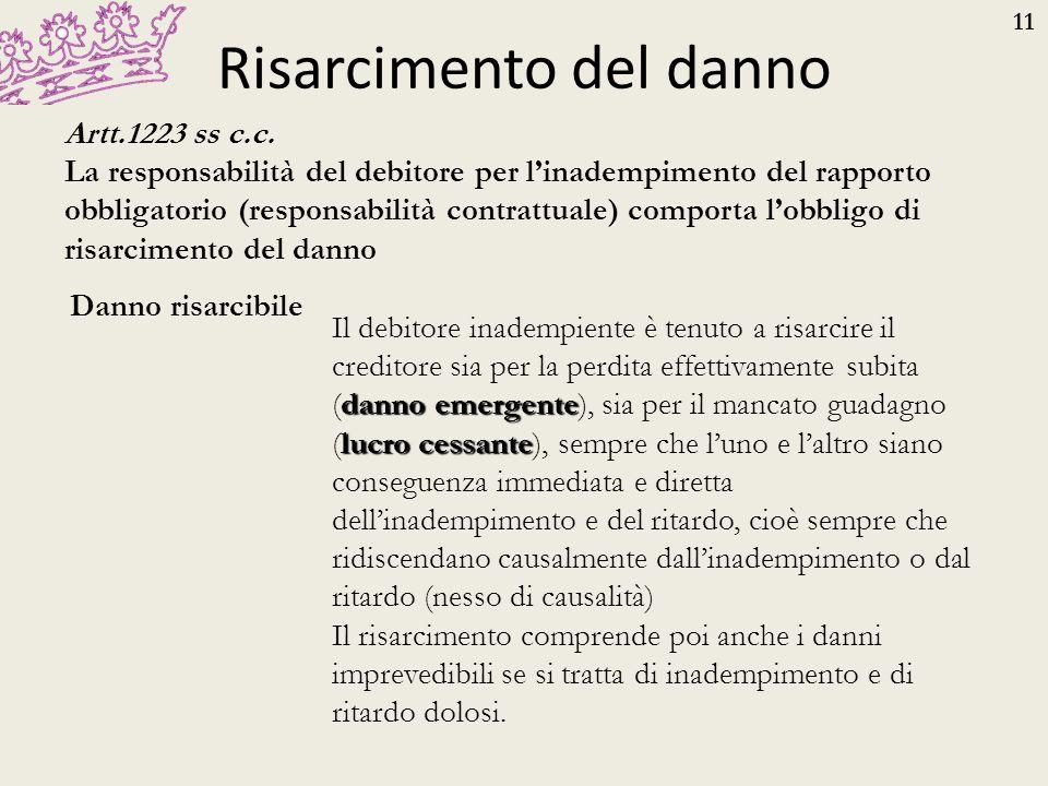11 Risarcimento del danno Danno risarcibile Artt.1223 ss c.c. La responsabilità del debitore per l'inadempimento del rapporto obbligatorio (responsabi
