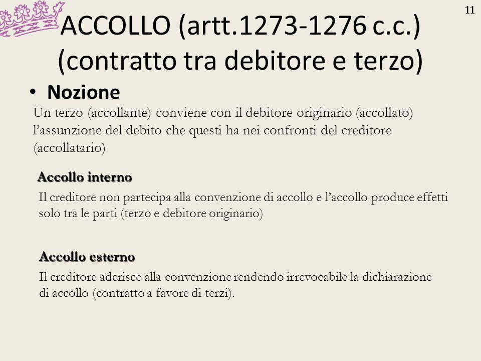 11 ACCOLLO (artt.1273-1276 c.c.) (contratto tra debitore e terzo) Nozione Un terzo (accollante) conviene con il debitore originario (accollato) l'assu