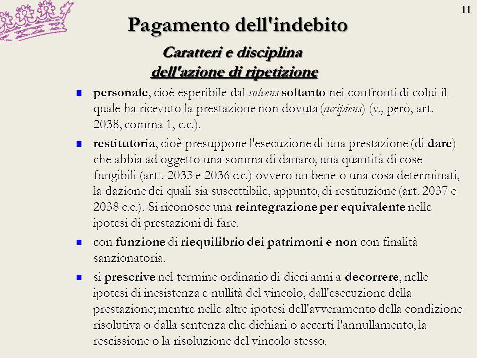 11 Adempimento Prestazione in luogo dell adempimento accordo tra creditore e debitore (prestazione in luogo dell adempimento, art.