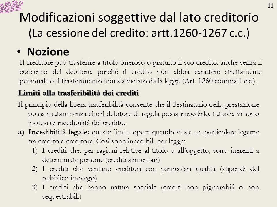 11 Modificazioni soggettive dal lato creditorio (La cessione del credito: artt.1260-1267 c.c.) Nozione Il creditore può trasferire a titolo oneroso o