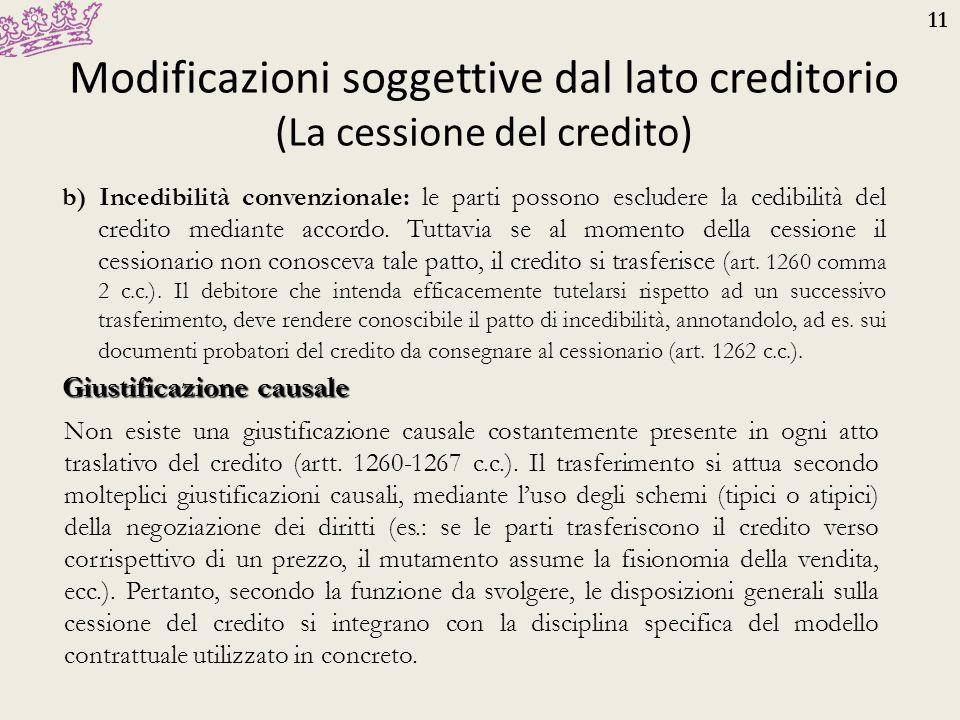 11 Modificazioni soggettive dal lato creditorio (La cessione del credito) b) Incedibilità convenzionale: le parti possono escludere la cedibilità del