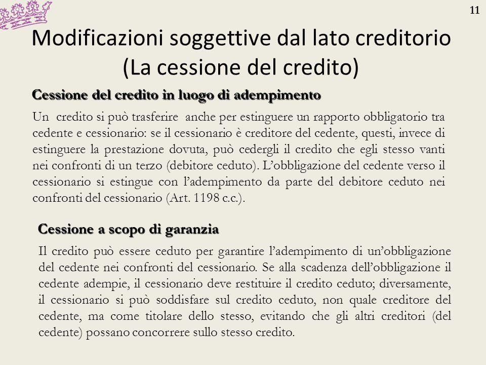 11 Modificazioni soggettive dal lato creditorio (La cessione del credito) Cessione del credito in luogo di adempimento Un credito si può trasferire an
