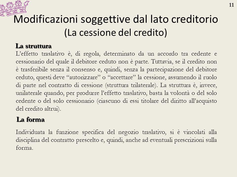 11 Modificazioni soggettive dal lato creditorio (La cessione del credito) La struttura L'effetto traslativo è, di regola, determinato da un accordo tr