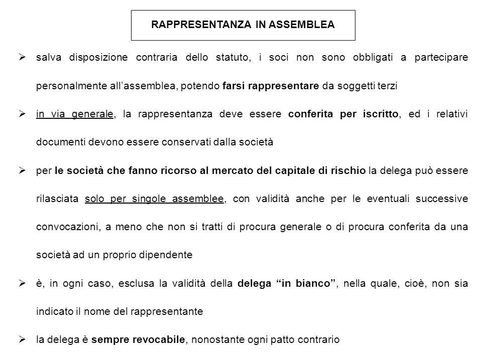 RAPPRESENTANZA IN ASSEMBLEA  salva disposizione contraria dello statuto, i soci non sono obbligati a partecipare personalmente all'assemblea, potendo
