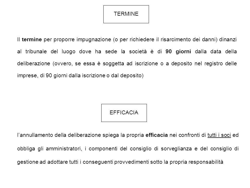 TERMINE Il termine per proporre impugnazione (o per richiedere il risarcimento dei danni) dinanzi al tribunale del luogo dove ha sede la società è di