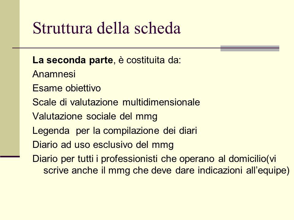Struttura della scheda La seconda parte, è costituita da: Anamnesi Esame obiettivo Scale di valutazione multidimensionale Valutazione sociale del mmg