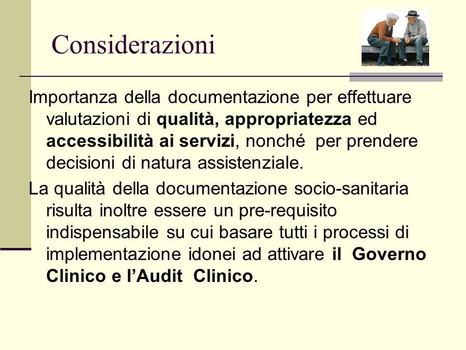 Considerazioni Importanza della documentazione per effettuare valutazioni di qualità, appropriatezza ed accessibilità ai servizi, nonché per prendere