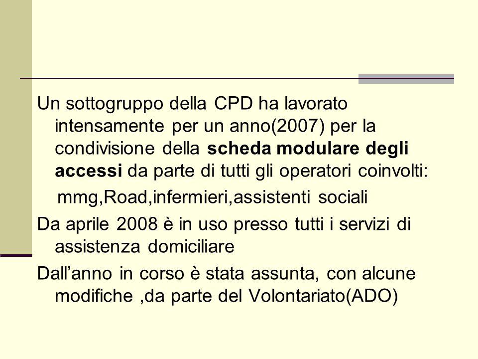 Un sottogruppo della CPD ha lavorato intensamente per un anno(2007) per la condivisione della scheda modulare degli accessi da parte di tutti gli oper