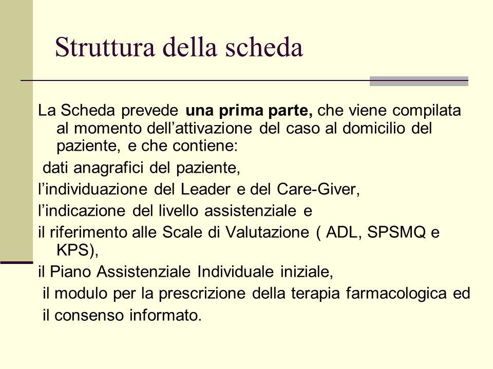 Struttura della scheda La Scheda prevede una prima parte, che viene compilata al momento dell'attivazione del caso al domicilio del paziente, e che co
