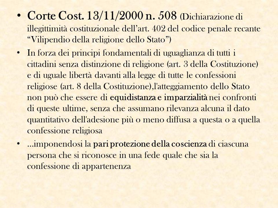 """Corte Cost. 13/11/2000 n. 508 (Dichiarazione di illegittimità costituzionale dell'art. 402 del codice penale recante """"Vilipendio della religione dello"""