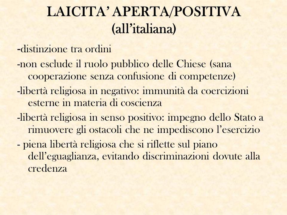 LAICITA' APERTA/POSITIVA (all'italiana) - distinzione tra ordini -non esclude il ruolo pubblico delle Chiese (sana cooperazione senza confusione di co