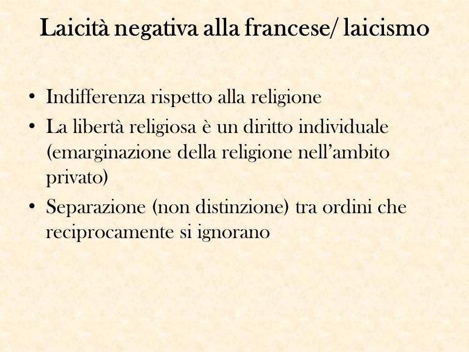 Laicità negativa alla francese/ laicismo Indifferenza rispetto alla religione La libertà religiosa è un diritto individuale (emarginazione della relig