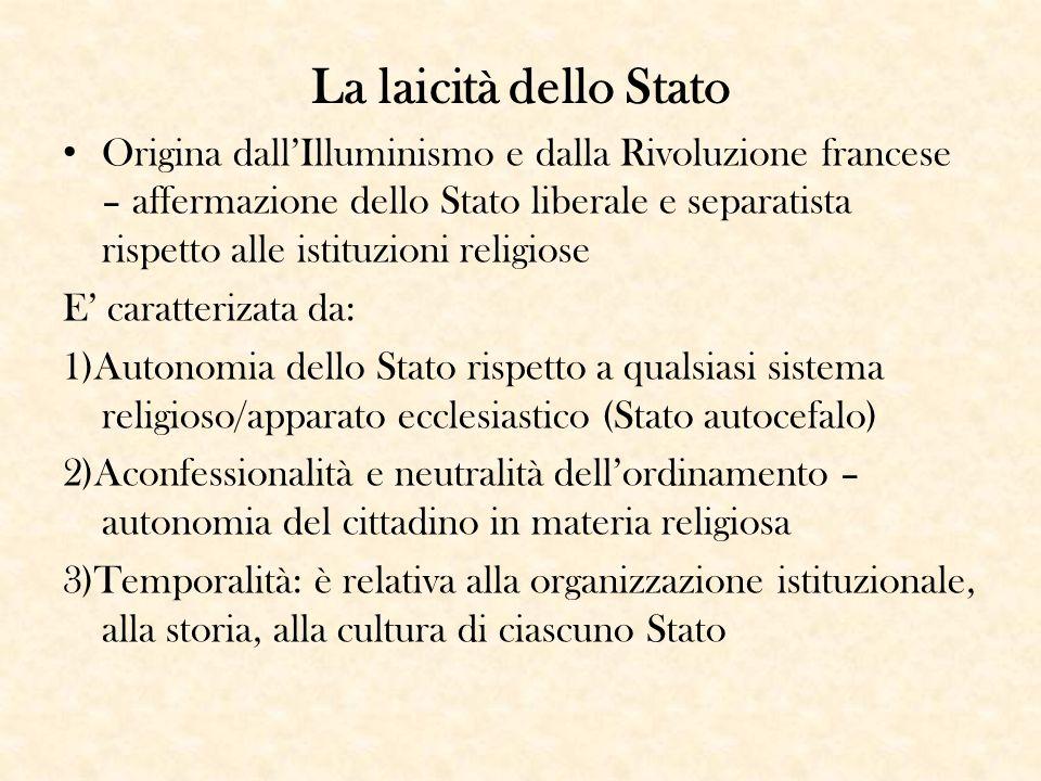 La laicità dello Stato Origina dall'Illuminismo e dalla Rivoluzione francese – affermazione dello Stato liberale e separatista rispetto alle istituzio