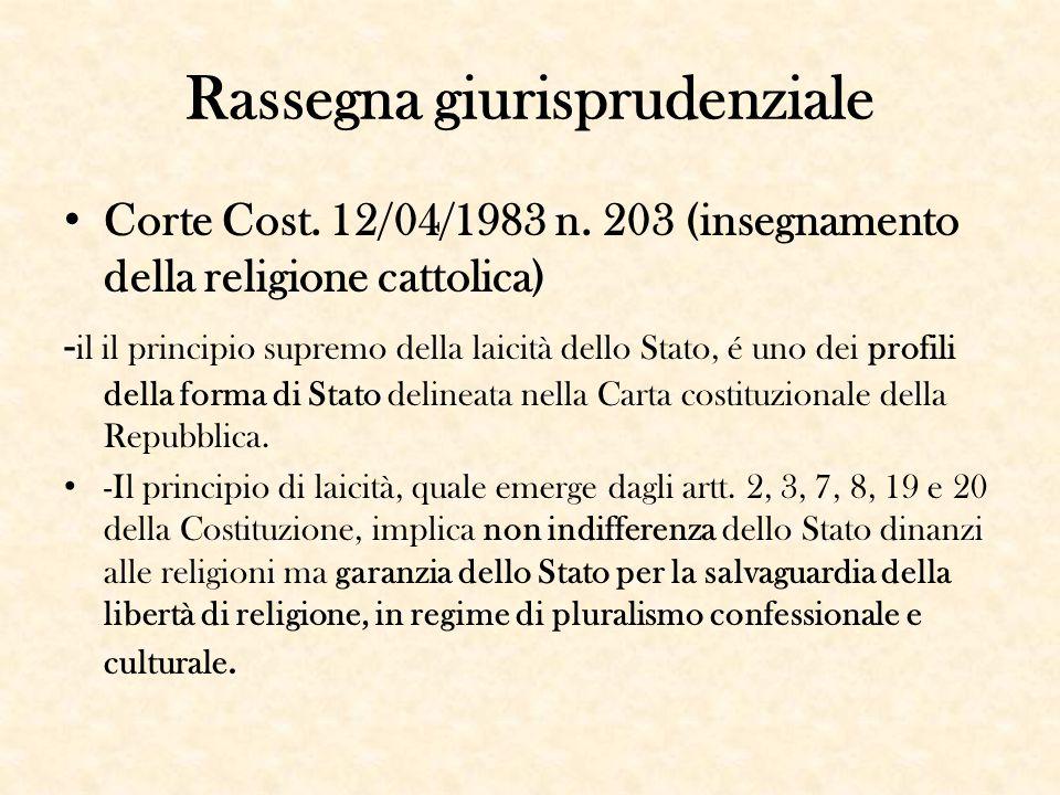 Rassegna giurisprudenziale Corte Cost. 12/04/1983 n. 203 (insegnamento della religione cattolica) - il il principio supremo della laicità dello Stato,