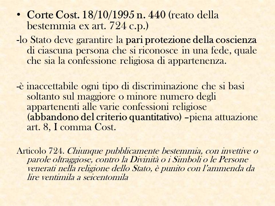 Corte Cost. 18/10/1995 n. 440 (reato della bestemmia ex art. 724 c.p.) - lo Stato deve garantire la pari protezione della coscienza di ciascuna person