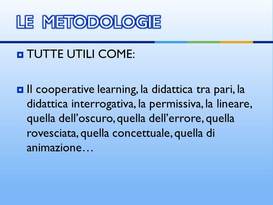 TUTTE UTILI COME:  Il cooperative learning, la didattica tra pari, la didattica interrogativa, la permissiva, la lineare, quella dell'oscuro, quell