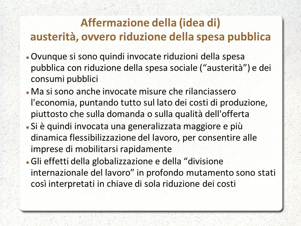 Affermazione della (idea di) austerità, ovvero riduzione della spesa pubblica Ovunque si sono quindi invocate riduzioni della spesa pubblica con riduz