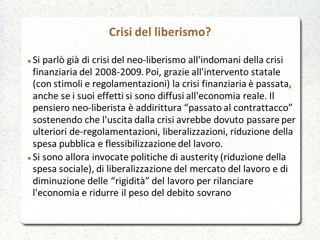Crisi del liberismo? Si parlò già di crisi del neo-liberismo all'indomani della crisi finanziaria del 2008-2009. Poi, grazie all'intervento statale (c