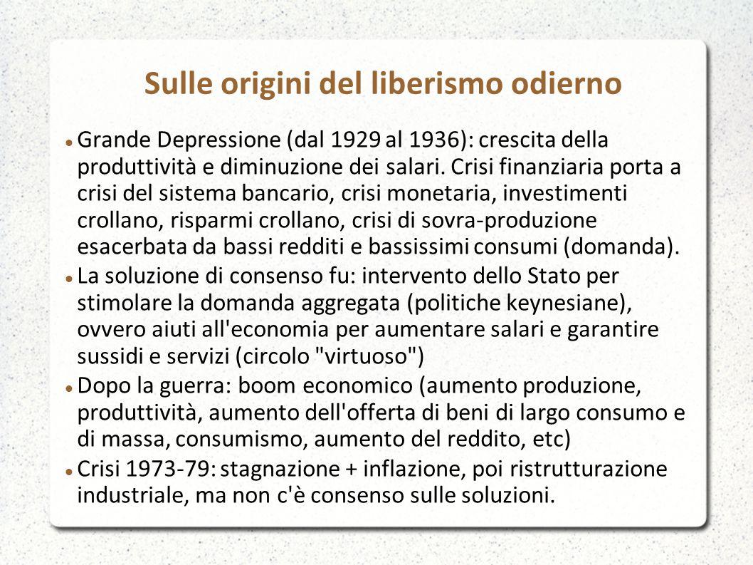 Sulle origini del liberismo odierno Grande Depressione (dal 1929 al 1936): crescita della produttività e diminuzione dei salari. Crisi finanziaria por
