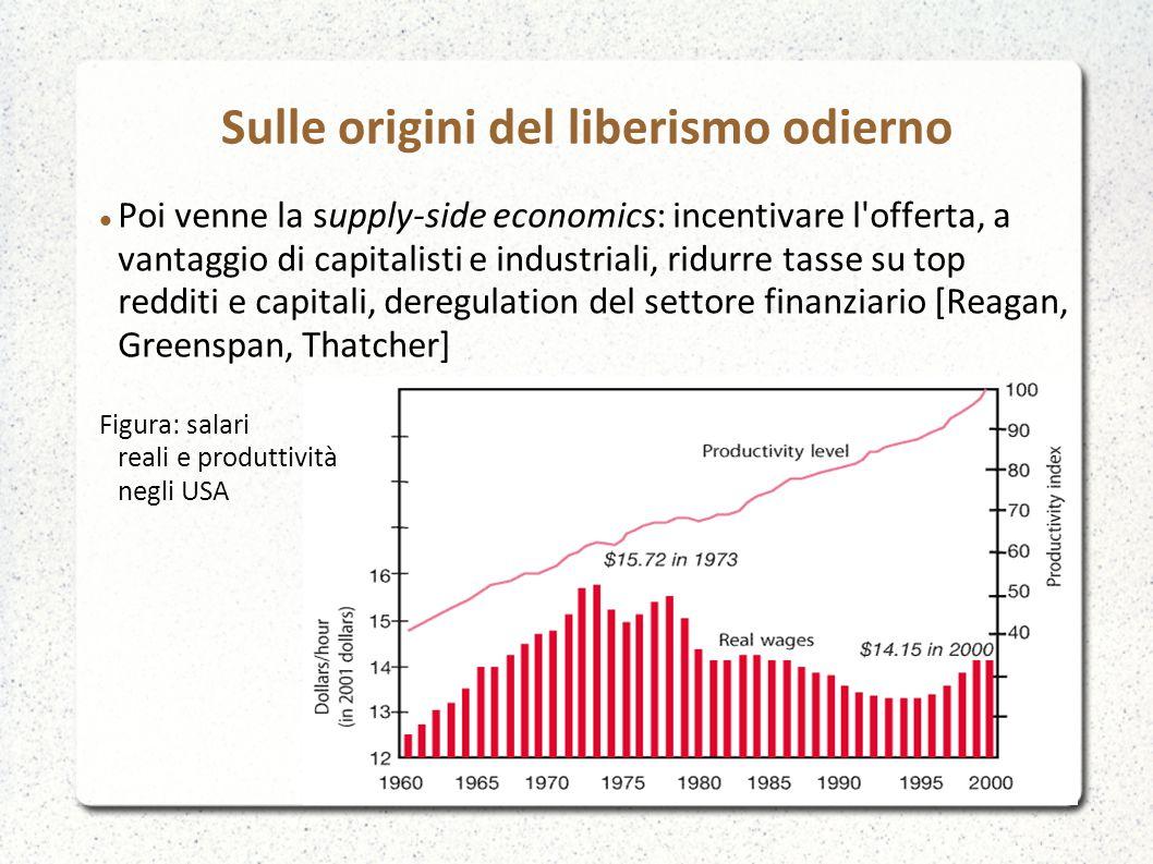 Poi venne la supply-side economics: incentivare l'offerta, a vantaggio di capitalisti e industriali, ridurre tasse su top redditi e capitali, deregula