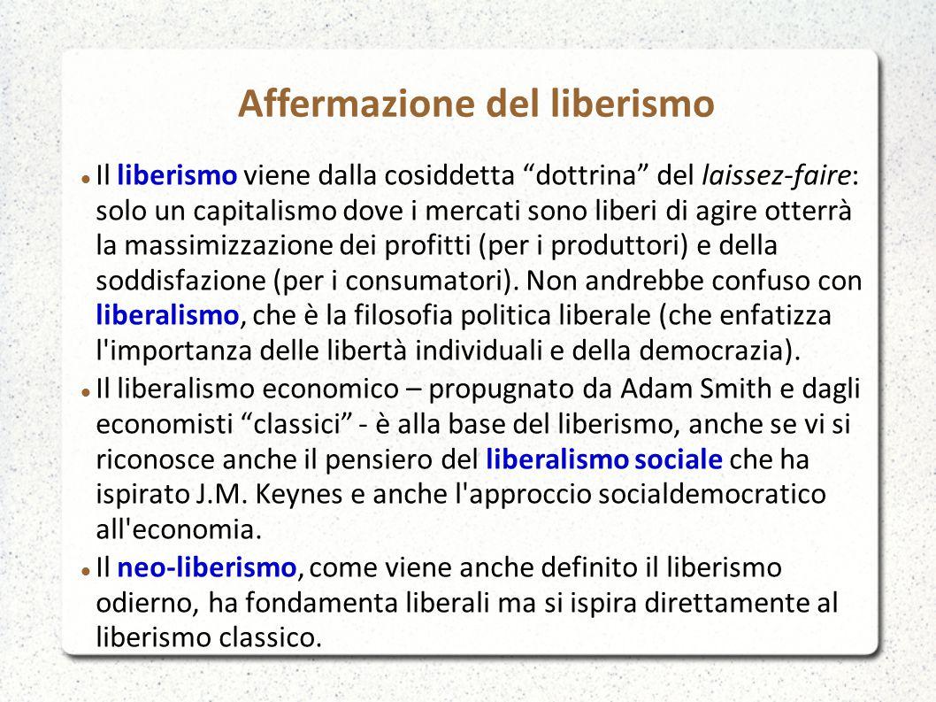 Il liberismo viene dalla cosiddetta dottrina del laissez-faire: solo un capitalismo dove i mercati sono liberi di agire otterrà la massimizzazione dei profitti (per i produttori) e della soddisfazione (per i consumatori).