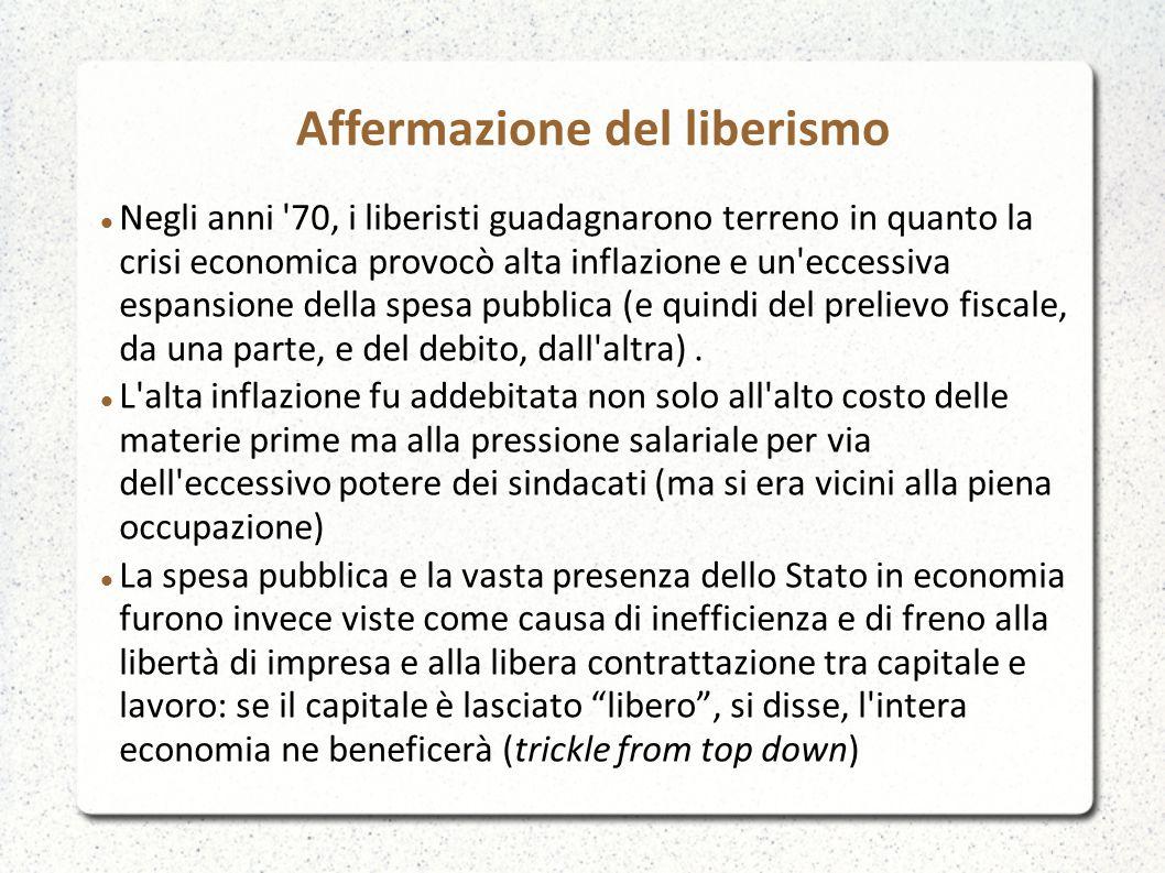 Negli anni 70, i liberisti guadagnarono terreno in quanto la crisi economica provocò alta inflazione e un eccessiva espansione della spesa pubblica (e quindi del prelievo fiscale, da una parte, e del debito, dall altra).