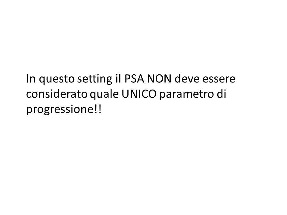 In questo setting il PSA NON deve essere considerato quale UNICO parametro di progressione!!