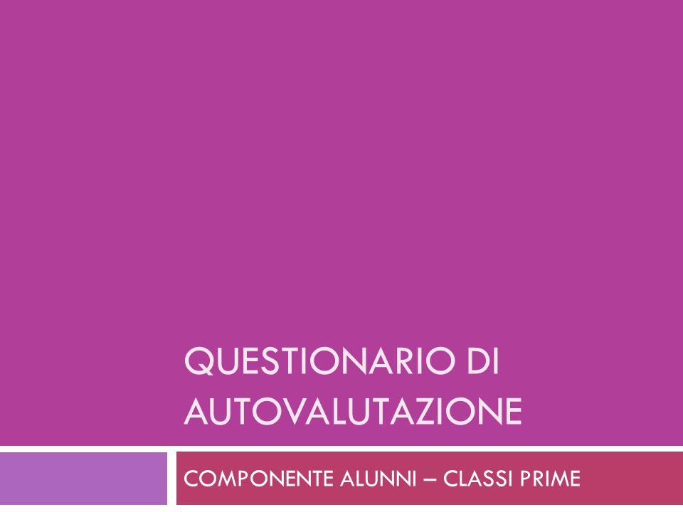 QUESTIONARIO DI AUTOVALUTAZIONE COMPONENTE ALUNNI – CLASSI PRIME