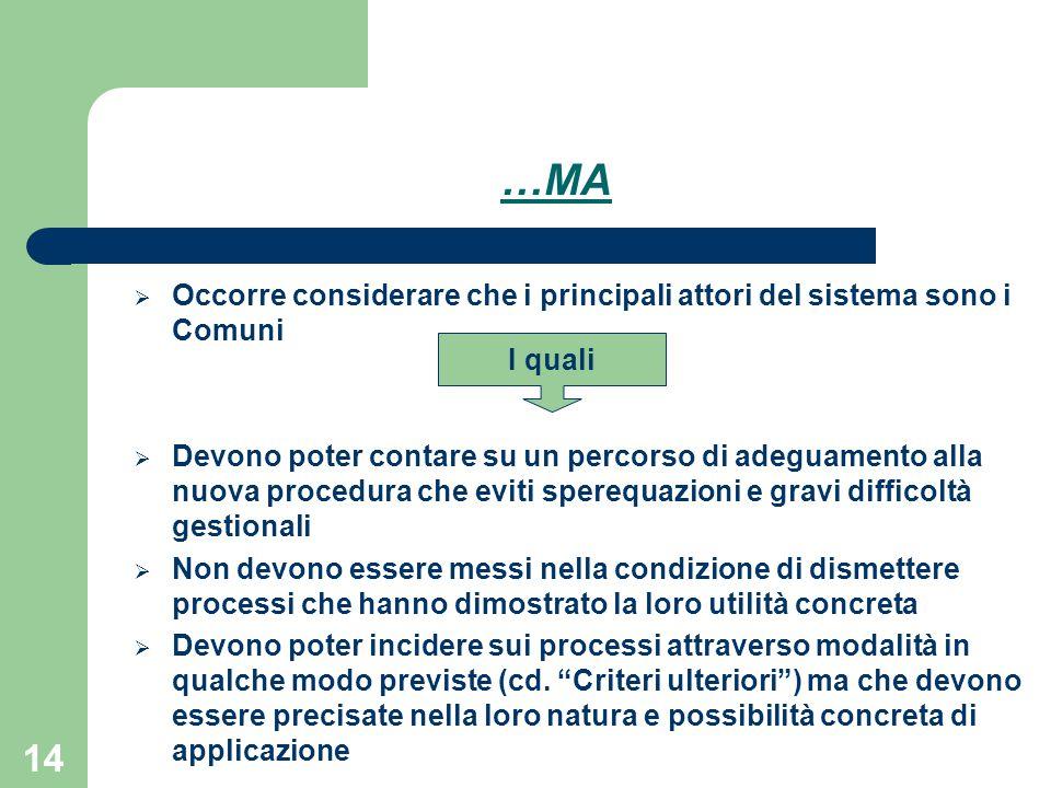 14 …MA  Occorre considerare che i principali attori del sistema sono i Comuni  Devono poter contare su un percorso di adeguamento alla nuova procedu