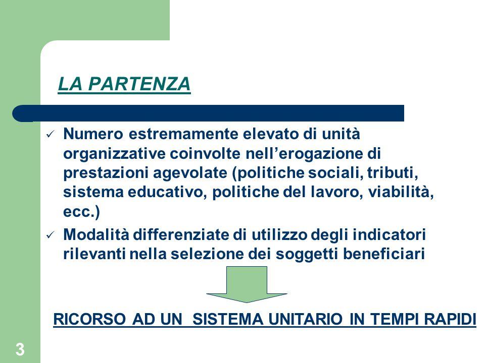 3 LA PARTENZA Numero estremamente elevato di unità organizzative coinvolte nell'erogazione di prestazioni agevolate (politiche sociali, tributi, siste