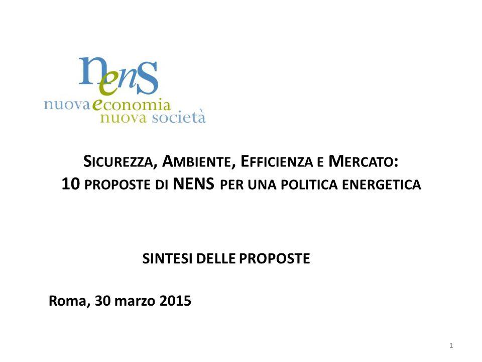 S ICUREZZA, A MBIENTE, E FFICIENZA E M ERCATO : 10 PROPOSTE DI NENS PER UNA POLITICA ENERGETICA SINTESI DELLE PROPOSTE Roma, 30 marzo 2015 1