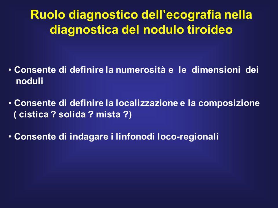 Ruolo diagnostico dell'ecografia nella diagnostica del nodulo tiroideo Consente di definire la numerosità e le dimensioni dei noduli Consente di definire la localizzazione e la composizione ( cistica .