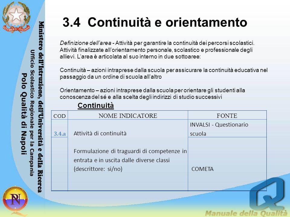 3.4 Continuità e orientamento Definizione dell'area - Attività per garantire la continuità dei percorsi scolastici. Attività finalizzate all'orientame