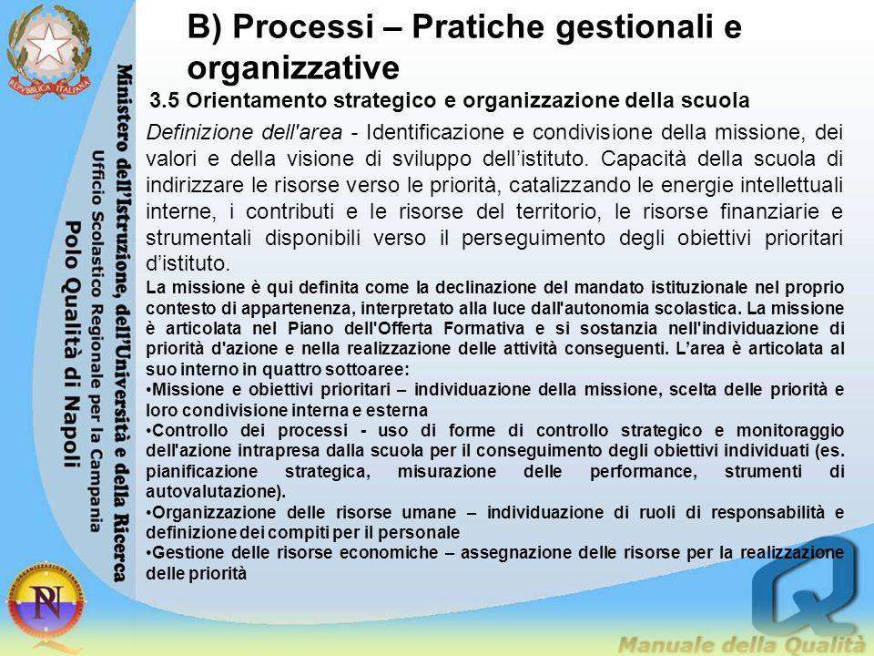 B) Processi – Pratiche gestionali e organizzative 3.5 Orientamento strategico e organizzazione della scuola Definizione dell'area - Identificazione e