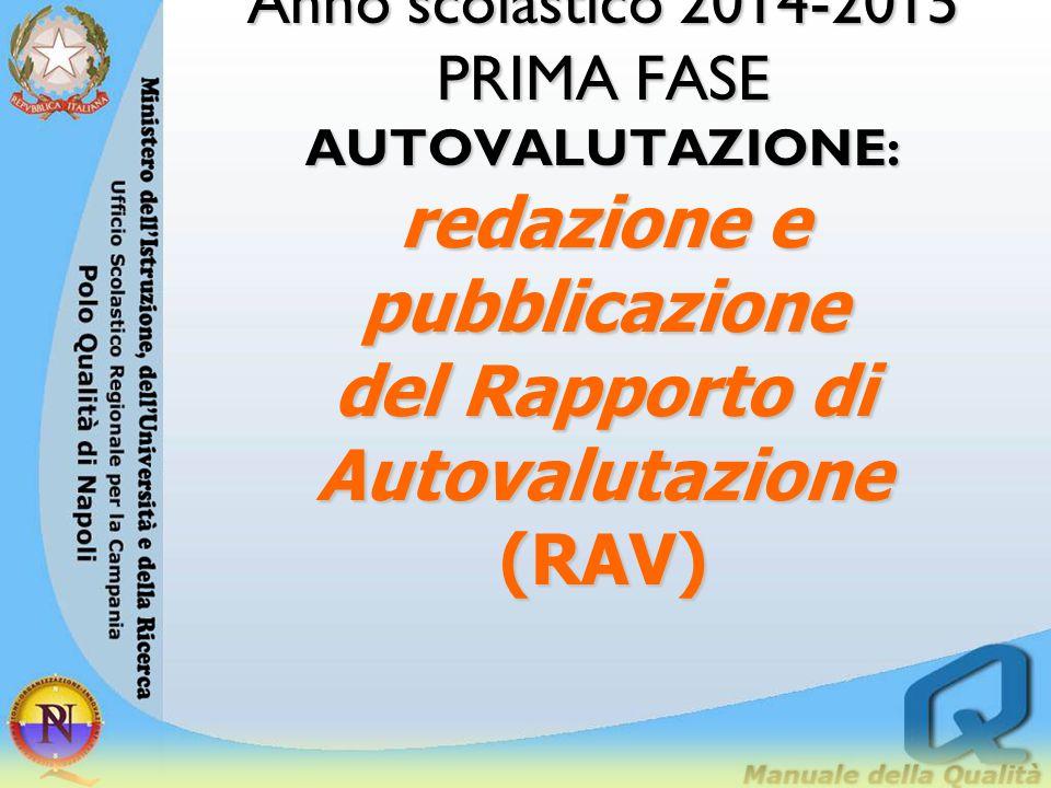 Anno scolastico 2014-2015 PRIMA FASE AUTOVALUTAZIONE: redazione e pubblicazione del Rapporto di Autovalutazione (RAV)