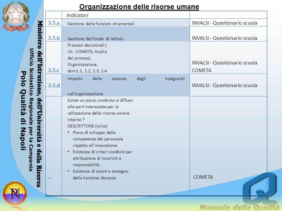 Organizzazione delle risorse umane Indicatori 3.5.a Gestione delle funzioni strumentali INVALSI - Questionario scuola 3.5.b Gestione del Fondo di isti