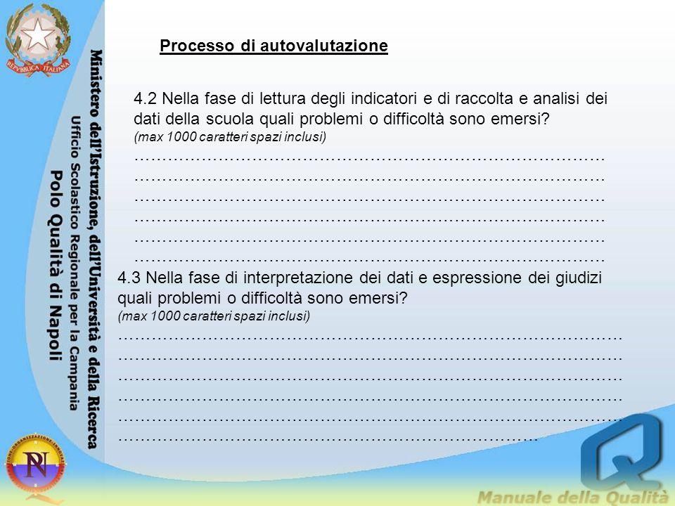Processo di autovalutazione 4.2 Nella fase di lettura degli indicatori e di raccolta e analisi dei dati della scuola quali problemi o difficoltà sono