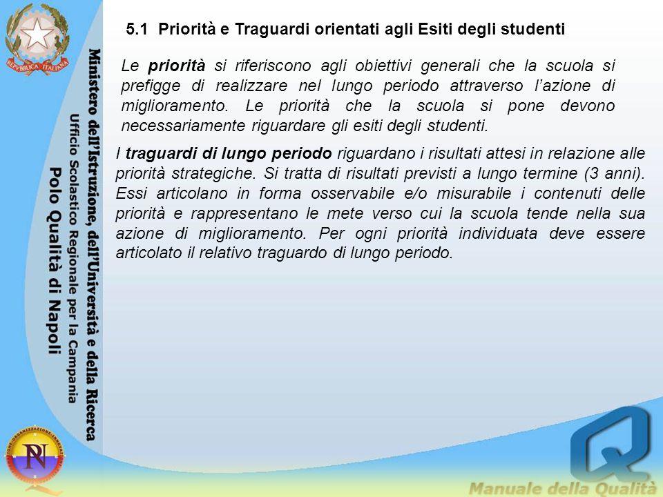 5.1 Priorità e Traguardi orientati agli Esiti degli studenti Le priorità si riferiscono agli obiettivi generali che la scuola si prefigge di realizzar