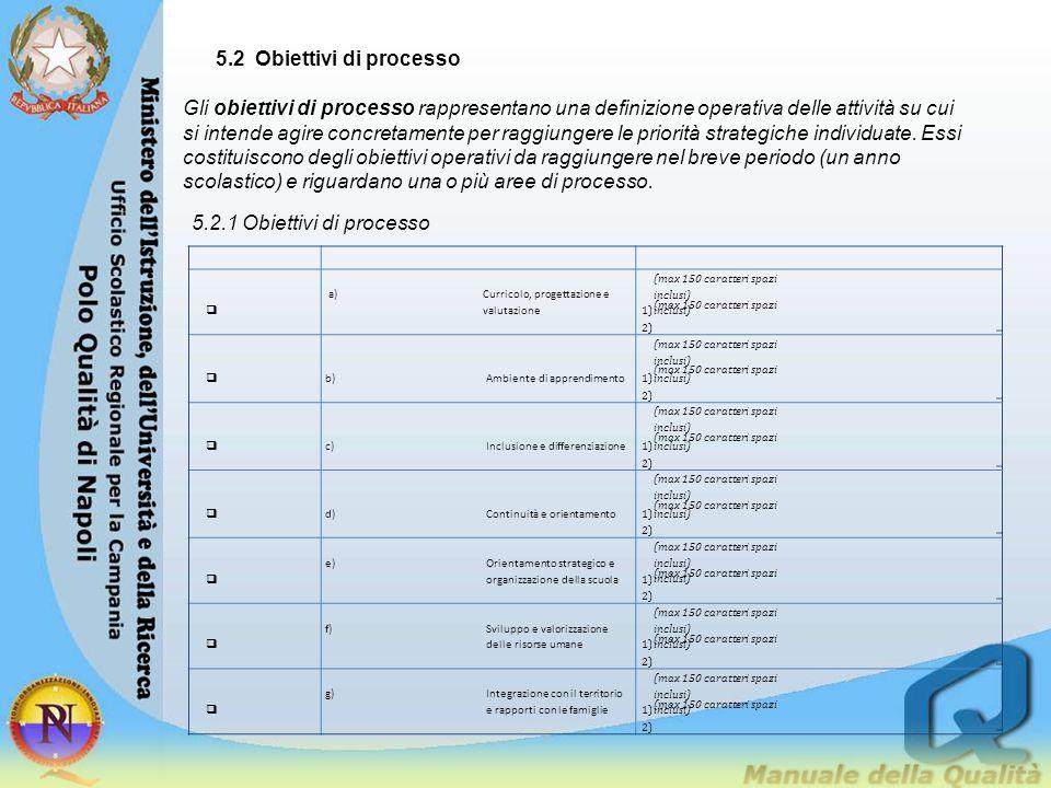 5.2 Obiettivi di processo Gli obiettivi di processo rappresentano una definizione operativa delle attività su cui si intende agire concretamente per r