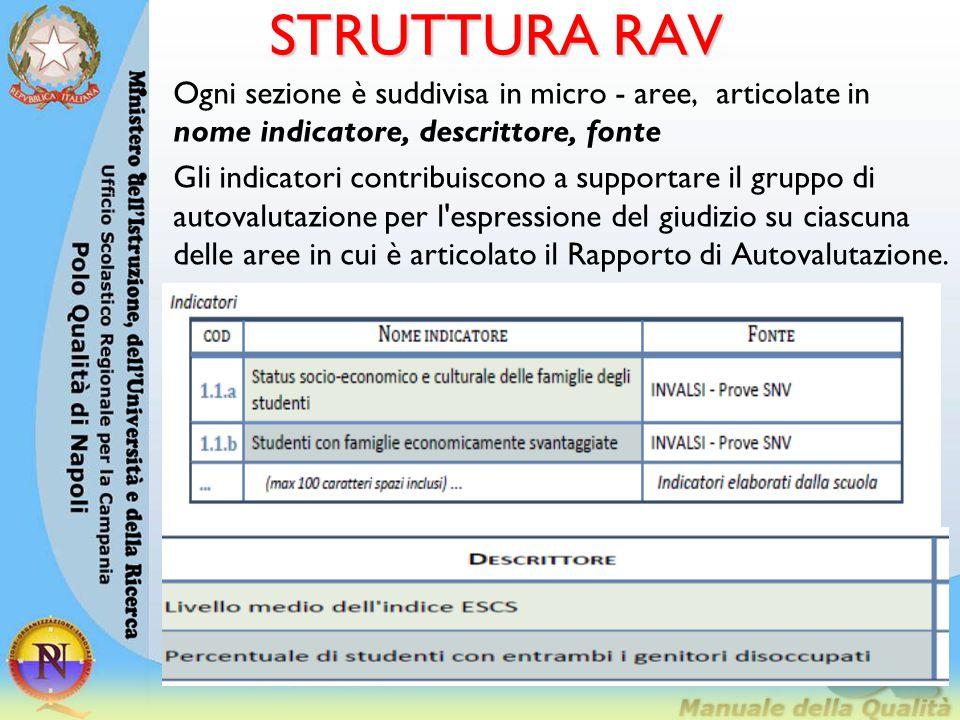 STRUTTURA RAV Ogni sezione è suddivisa in micro - aree, articolate in nome indicatore, descrittore, fonte Gli indicatori contribuiscono a supportare i