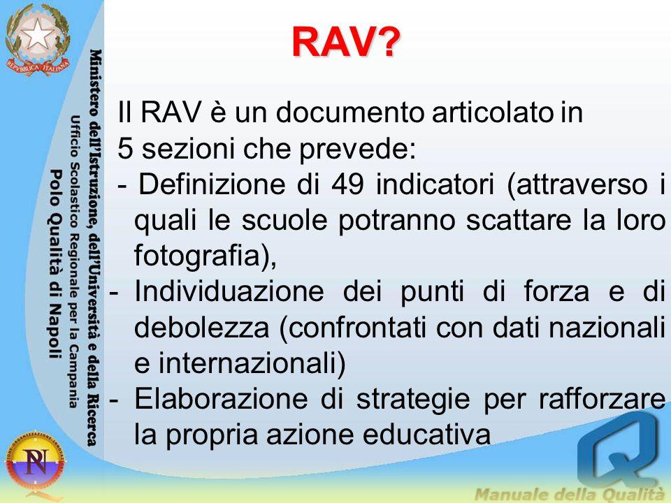 RAV? Il RAV è un documento articolato in 5 sezioni che prevede: - Definizione di 49 indicatori (attraverso i quali le scuole potranno scattare la loro