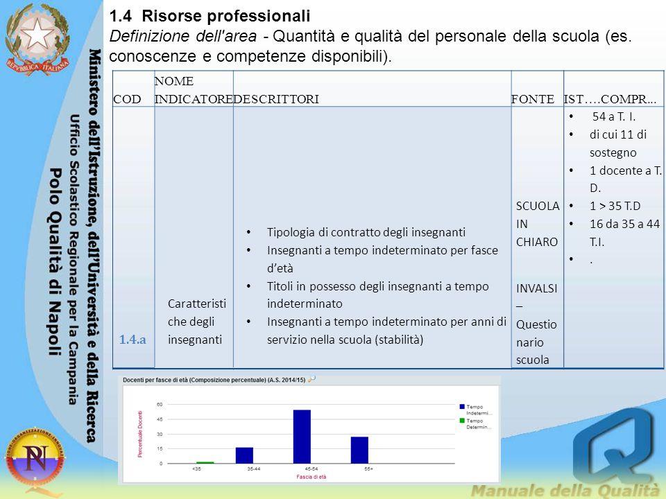 1.4 Risorse professionali Definizione dell'area - Quantità e qualità del personale della scuola (es. conoscenze e competenze disponibili). COD NOME IN