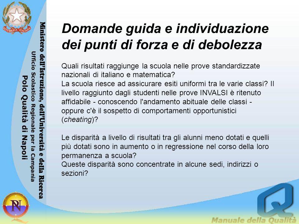 Domande guida e individuazione dei punti di forza e di debolezza Quali risultati raggiunge la scuola nelle prove standardizzate nazionali di italiano