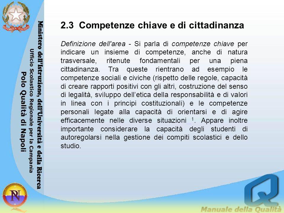 2.3 Competenze chiave e di cittadinanza Definizione dell'area - Si parla di competenze chiave per indicare un insieme di competenze, anche di natura t
