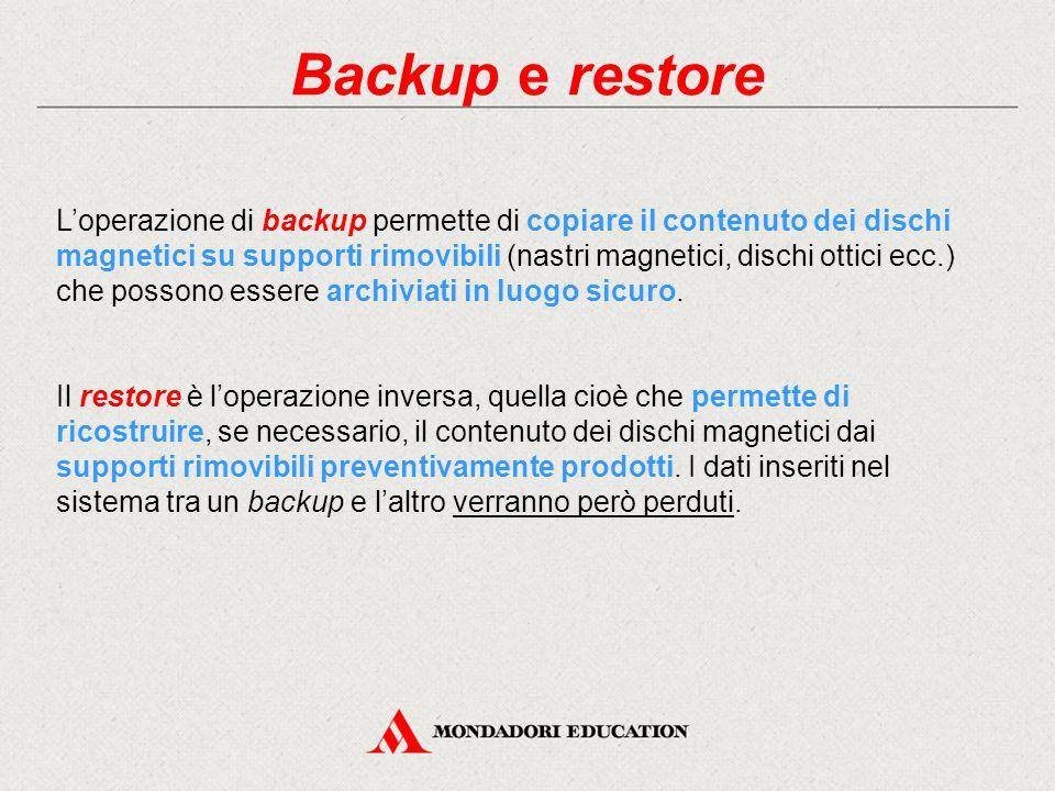 Backup e restore L'operazione di backup permette di copiare il contenuto dei dischi magnetici su supporti rimovibili (nastri magnetici, dischi ottici