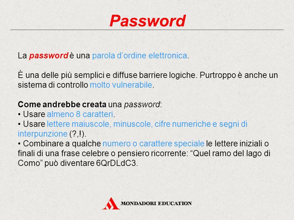 Password La password è una parola d'ordine elettronica. È una delle più semplici e diffuse barriere logiche. Purtroppo è anche un sistema di controllo