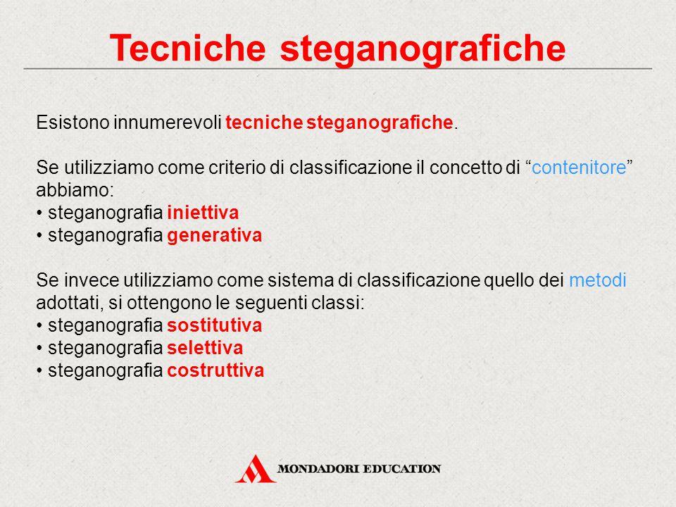 """Tecniche steganografiche Esistono innumerevoli tecniche steganografiche. Se utilizziamo come criterio di classificazione il concetto di """"contenitore"""""""