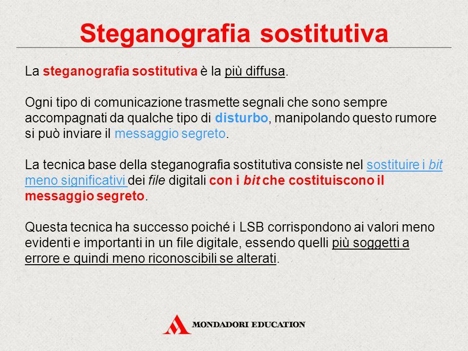 Steganografia sostitutiva La steganografia sostitutiva è la più diffusa. Ogni tipo di comunicazione trasmette segnali che sono sempre accompagnati da